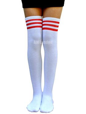 3d4356a9974ea Product Image AM Landen Cotton Over-Knee High Stripe Socks(White/Red  Stripes)