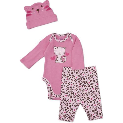 Gerber Newborn Girls' 3 Piece Kitty Hat,