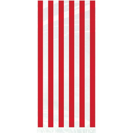 (3 Pack) Red Striped Cello Bags, - Pack Cello Bags