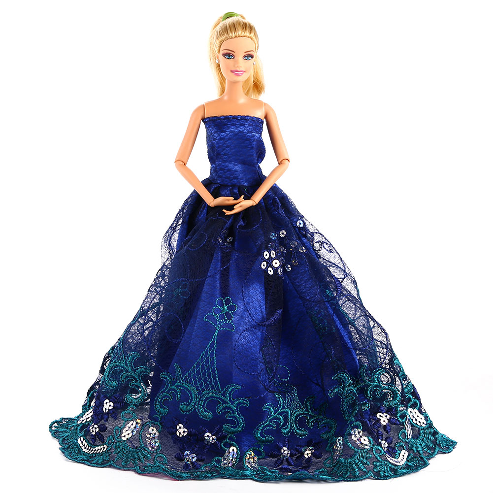 Party Costume Clothing Embroidery Lace Wedding Dress Trailing Dress for Barbie Doll