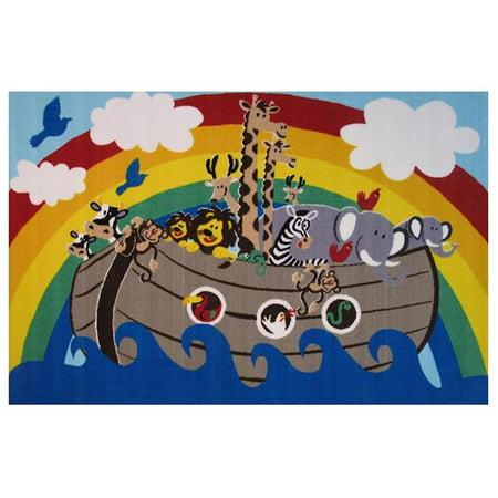 39 x 58 in. Fun Time-Animal Boat Kids Rugs