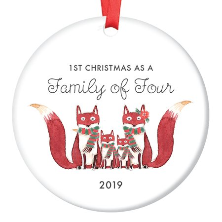 Family of Four Ornament 2019, First Christmas as a Family of 4, Fox Ornament Gift, Cute Foxes Mommy Daddy New 2nd Baby Shower Ceramic Present Keepsake 3