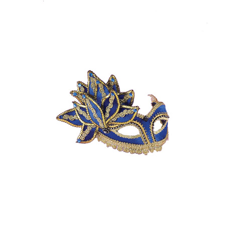 Blue with Gold Trim Venetian Adult Halloween Mask Accessory