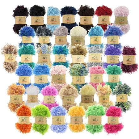 BambooMN JubileeYarn 50g Eyelash Ruffle Fur Yarn, 12 Skeins Surprise Package… - Eyelash Yarn Patterns