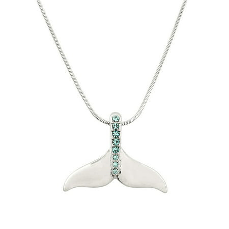 Whale Tail Pendant Necklace Rhinestone Crystal Rhodium High Polished