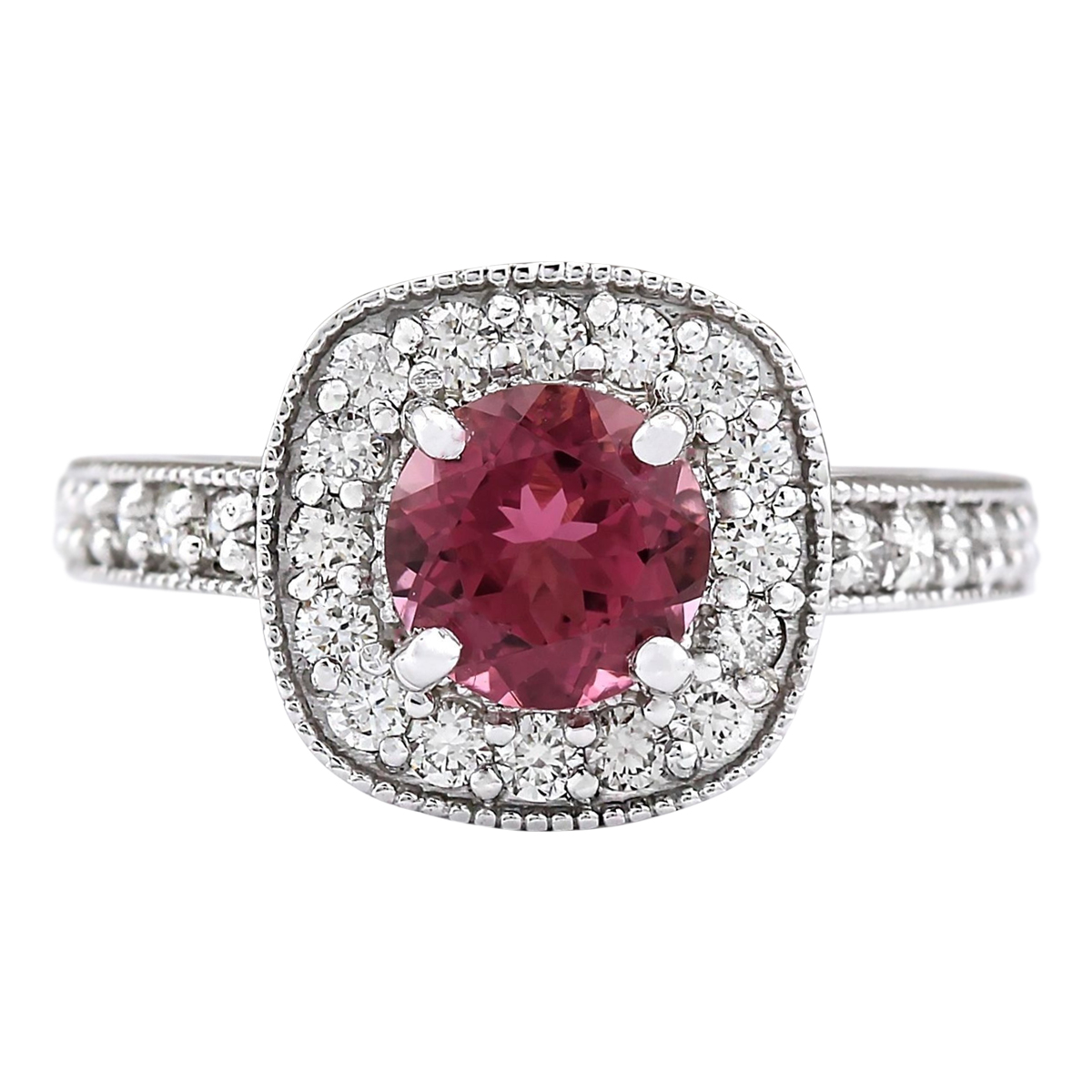 2.10 CTW Natural Pink Tourmaline And Diamond Ring 14k Solid White Gold by