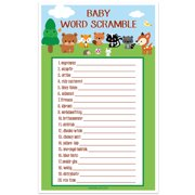 Woodland Creatures Forest Baby Shower Game - Word Scramble - Set of 30