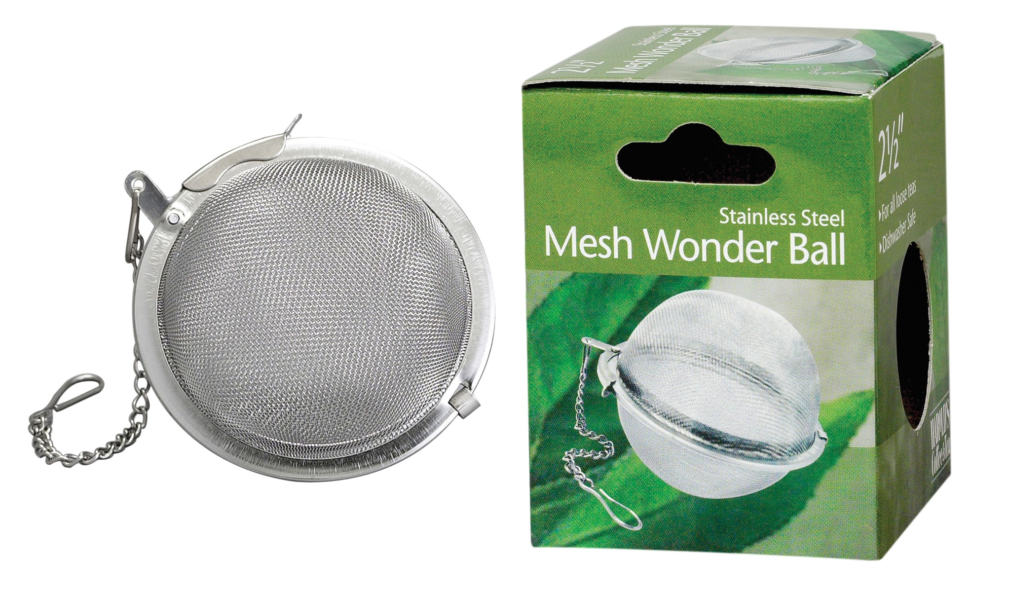 HIC Loose Leaf Tea Infuser Strainer and Herbal Infuser, 18 8 Stainless Steel, Mesh Tea Ball, 2.5-Inch by HIC Harold Import Co.