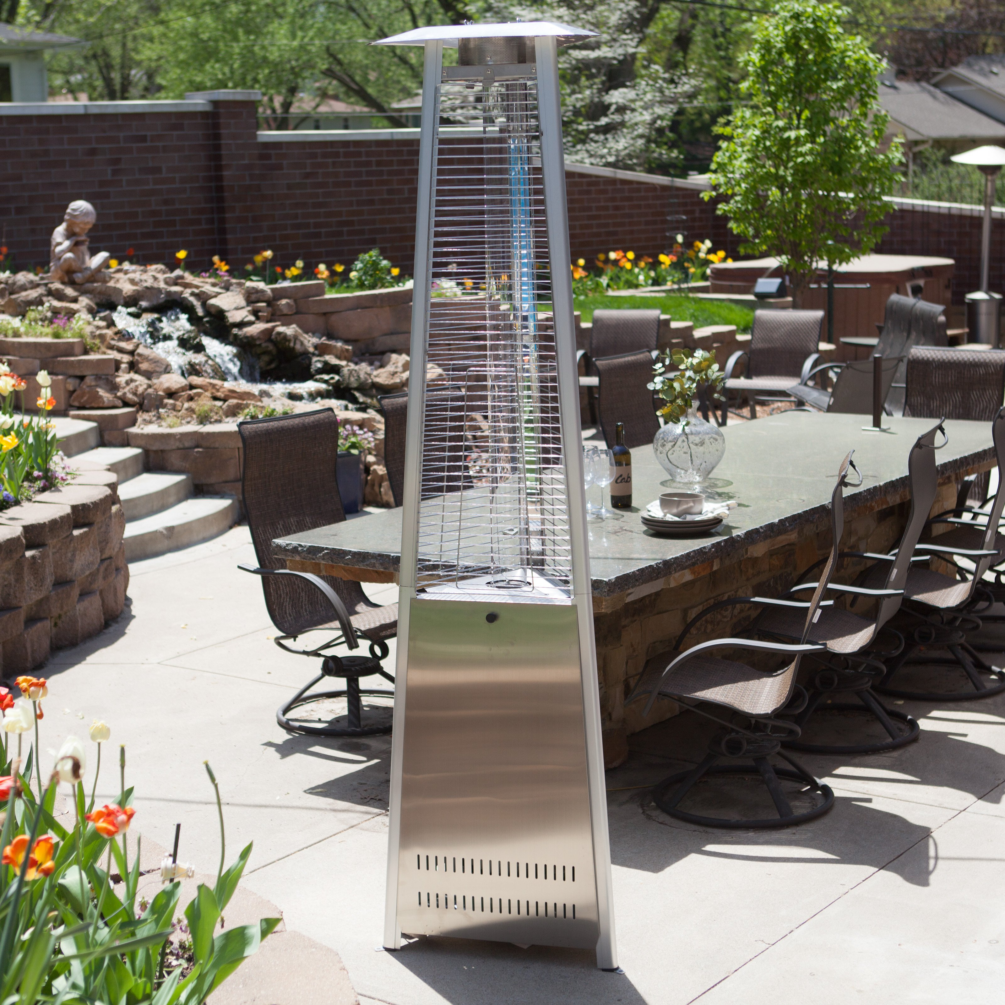 Red Ember Glass Tube Commercial Stainless Steel Patio Heater with Cover