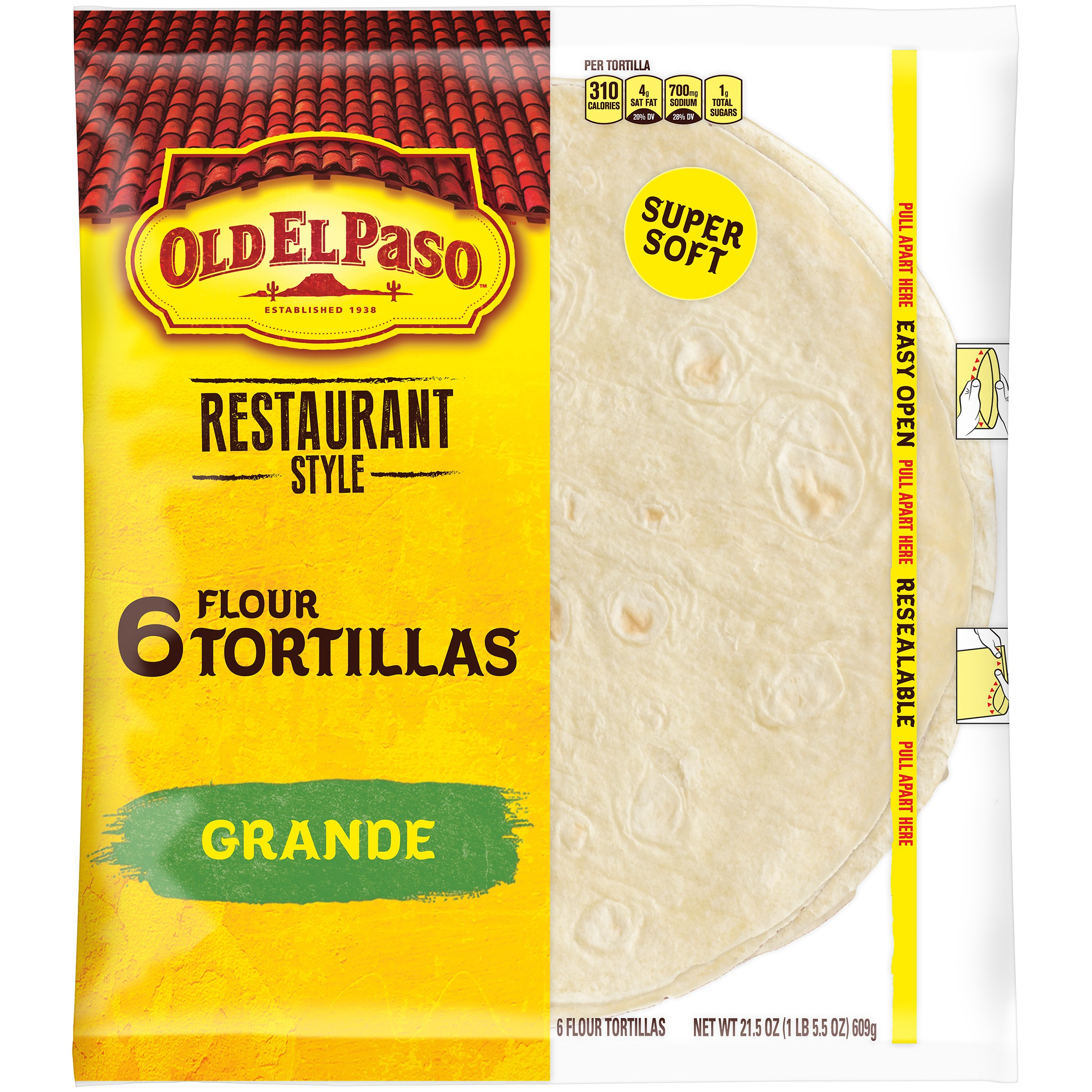 Old El Paso™ Restaurante Grande Shells 6 ct 21.5 oz Bag