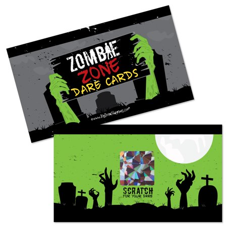 Zombie Zone - Halloween or Birthday Zombie Crawl Party Game Scratch Off Dare Cards - 22 - Halloween Birthdays Cards