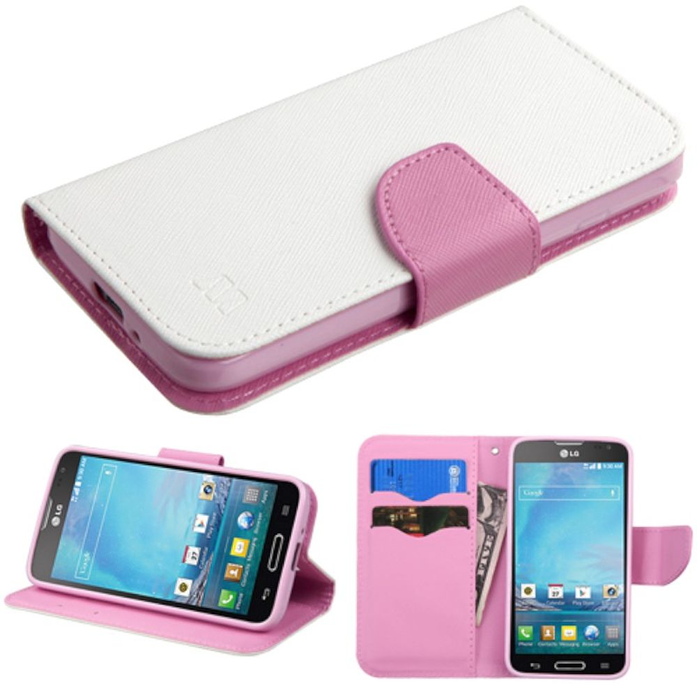 Insten Folio Leather Wallet Fabric Cover Case w/stand/card slot/Diamond For LG Optimus L90 - White/Pink