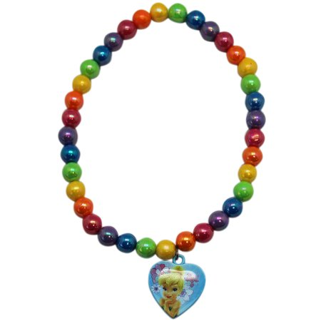 Tinkerbell Heart Charm - Disney's Tinker Bell Rainbow Colored Beads With Heart Charm Necklace