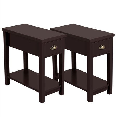 Topeakmart 2PCS Side Table End Table Night Stand Bedside Table Storage Cabinet with Drawer Espresso