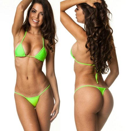 Women's Coqueta Swimwear Brazilian Triangle Top Bottom set Teeny Micro Thong Mini Bikini Swimsuit G String GREEN-SMALL ()