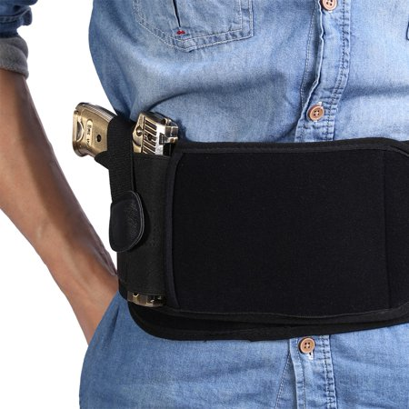 Black Waterproof Neoprene Right Draw Concealed Carry Belly Band Gun Holster (#2) , Pistol Holster , Belly Band