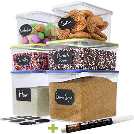 Popeven Large Food Storage Containers ,Great for Flour, Sugar, Baking Supplies,BEST Airtight Kitchen & Pantry Bulk Food Storage - BPA Free ,Set of 6 & 8 FREE Chalkboard Labels & Pen Home