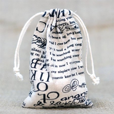 "BalsaCircle Natural 10 pcs 4""x6"" Cotton Printed Favor Gift Bags - Wedding Party Favors Jewelry Pouch Candy Small Bags"