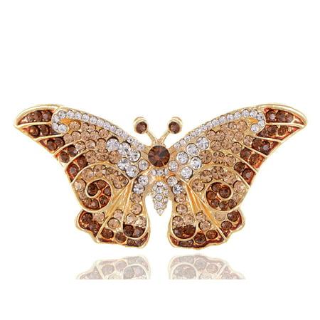 Empress Monarch Winged Butterfly Swarovski Crystal Rhinestones Brooch Pin -  B