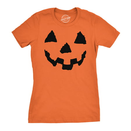 Women's Pumpkin Face T-Shirt Funny Halloween Jack O Lantern Shirt for Women - Halloween Messages For Boyfriend