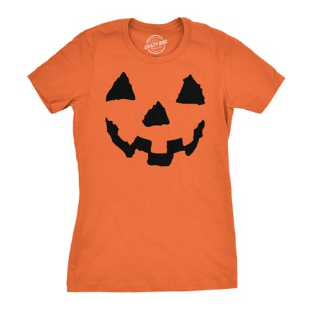 Women's Pumpkin Face T-Shirt Funny Halloween Jack O Lantern Shirt for Women