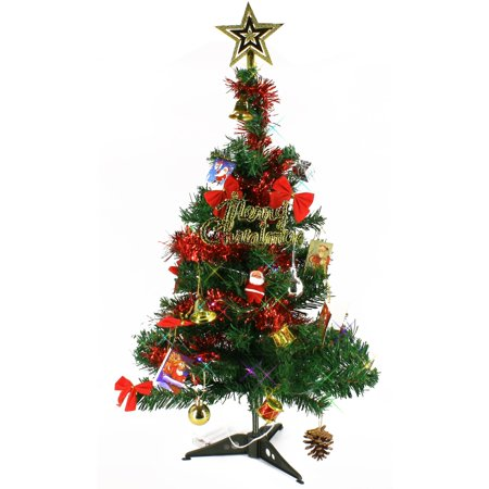 Wideskall® Tabletop Christmas Pine Tree 2 Feet Artificial Green with 30 LED Multi-Color Lights