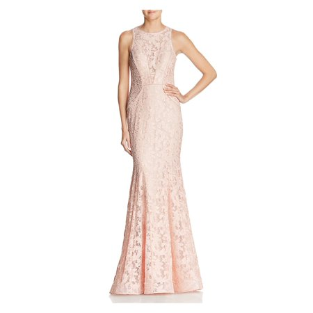 AQUA Womens Pink Lace  Gown Sleeveless Jewel Neck Full Length Formal Dress  Size: 12 Full Length Formal Dress