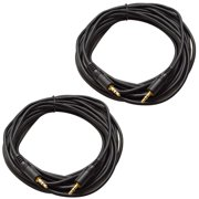 """Seismic Audio Pair of 25 Foot 1/8"""" (3.5mm) Stereo Male to Male Patch Cable - For iPod, iPhone Black - SA-iE25-2Pack"""