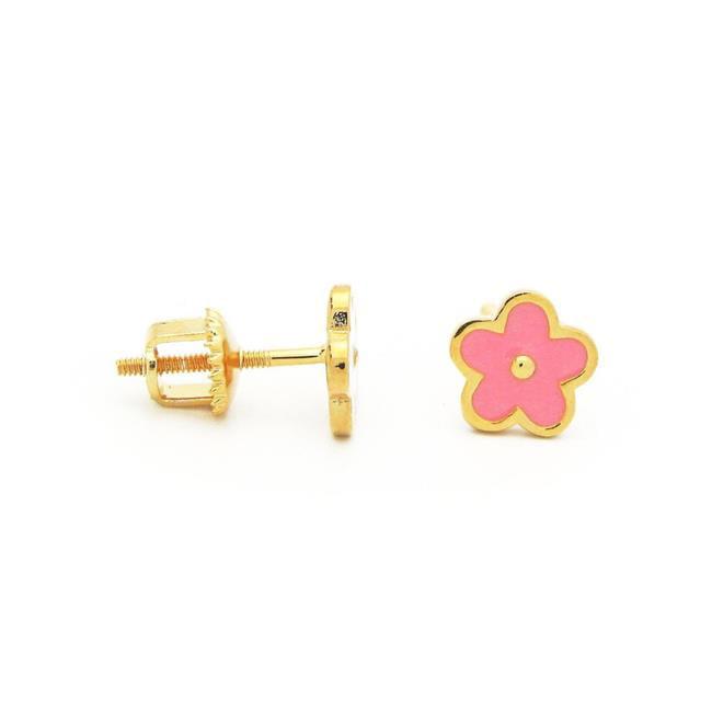 Fronay 215313P Pink Daisy Flower Screwback Stud Earrings in Sterling Silver - image 1 de 1