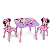 Delta Children Disney Minnie Mouse Wooden 3 Piece Table and Chair Set, Pink