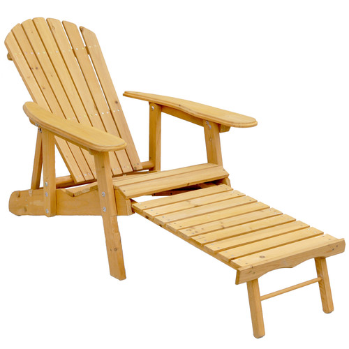 Leisure Season Reclining Adirondack Chair With Pull Out Ottoman, Medium  Brown