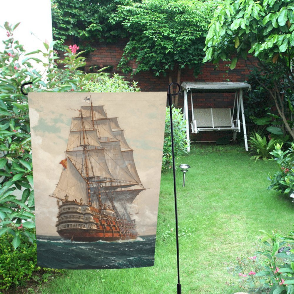 12X18 In Red Pirate Boat Decorative Flag by Flag