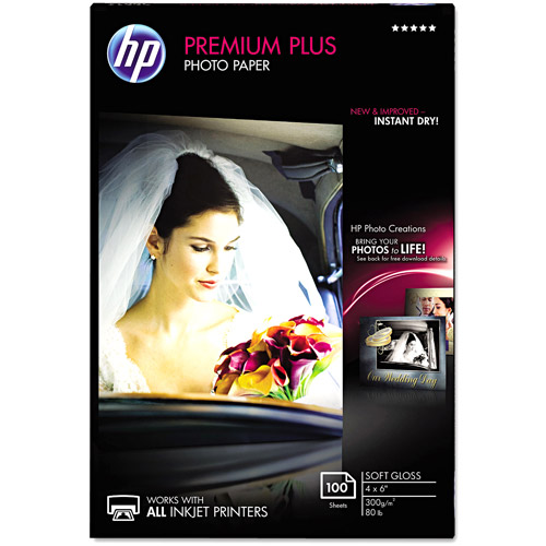 "HP Premium Plus 80-lb Photo Paper, 4"" x 6"", Soft-Gloss, 100 Sheets"
