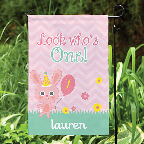 Personalized Girl's Look Who's One Garden Flag