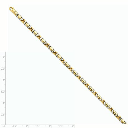14k Yellow and White Gold Two-tone 4.1mm Polished Fancy Link Bracelet Length 8 Inch - image 1 de 2