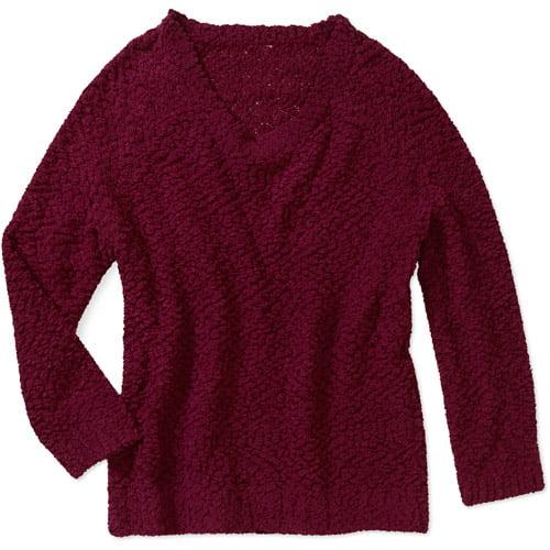 No Boundaries Juniors' Popcorn Yarn Scoop Neck Sweater