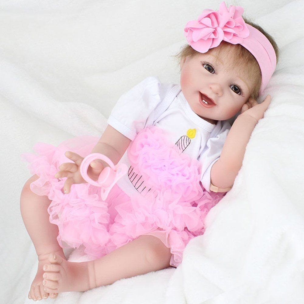 Handmade 22inch Lifelike Baby Fashion Girl Doll Reborn Newborn Dolls Toy With Accessories Birthday Christmas Gift