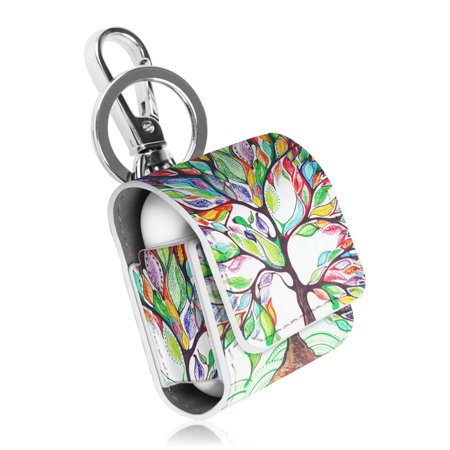 - Fintie AirPods PU Leather Case - Earbuds Cover Skin with Metal Clasp and Keychain, Love Tree