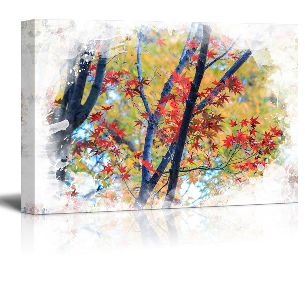 wall26 Canvas Print Landscape Wall Art - Autumn Leaves - Gallery Wrap Modern Home Decor | Ready to Hang -16x24 inches