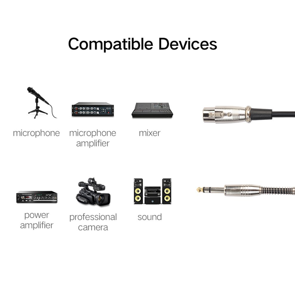 Black Audio 6.35Mm Stereo Male To Xlr Female Microphone Stereo Cable For Sound Console by