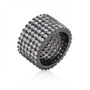 Icon Bijoux R08322B-C01-09 Hematite Wide Pave Cubic Zirconia Ring (Size: 09)