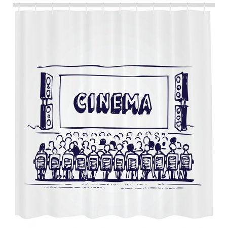 Movie Theater Shower Curtain, Hand Drawn Illustration Audience Sitting in Theater Waiting the Movie, Fabric Bathroom Set with Hooks, 69W X 70L Inches, Navy Blue White, by Ambesonne