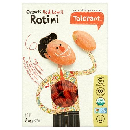 Mild Indian Lentil - Tolerant Organic Red Lentil Rotini, 8 oz, (Pack of 6)