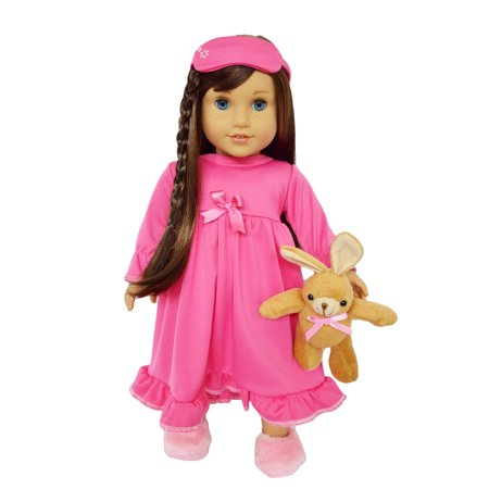18 Inch Doll Clothes- Pink Nightgown with Sleep Mask and Bunny Rabbit for American Girl Dolls and My Life as -