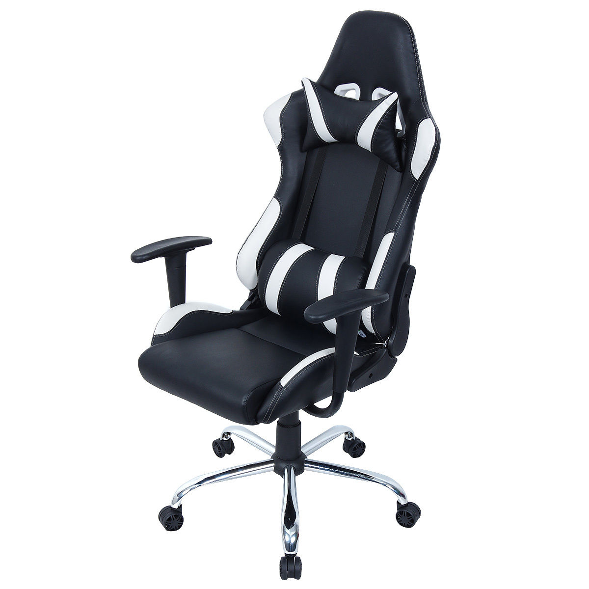 costway black and white gaming chair office chair race computer