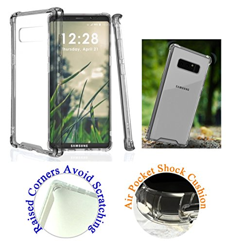 "for 6.3"" Samsung Galaxy Note 8 note8 Case Phone Case Clear Back Lifted Screen & Camera Raised Corner Shock Bumper Slim Skin Cover Clear Gray"