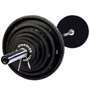 USA Sports by Troy Barbell 300 lb. Olympic Black Weight Set with Chrome Bar