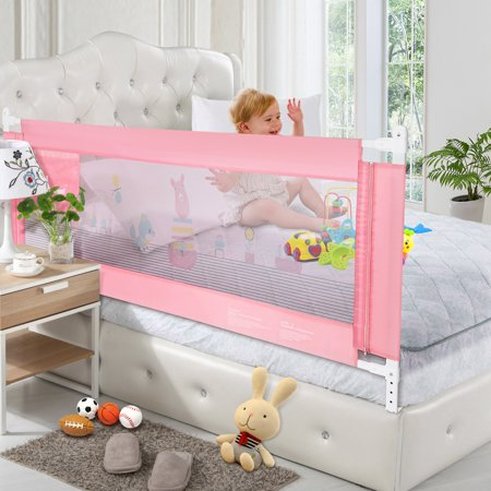 70in Pink Rail, Extra Long Vertical Lifting Safety Bedrail Assist Extra Long Mesh Guard Rails for Convertible Crib Kids Twin Toddler Double Full Size Queen & King (Summer Infant Bed Rail Pink)
