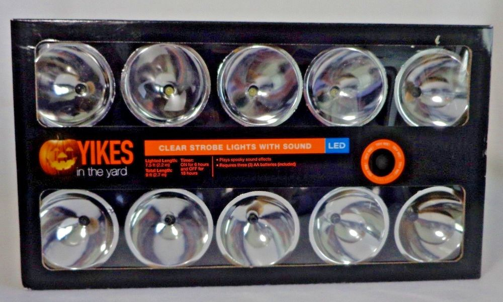 10 Count Clear Battery Operated Halloween LED Strobe Lights with Spooky Sounds by