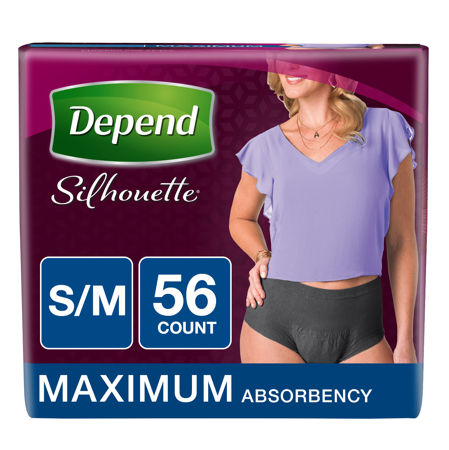 Depend Silhouette for Women Maximum Absorbency Briefs S/M, 56 count